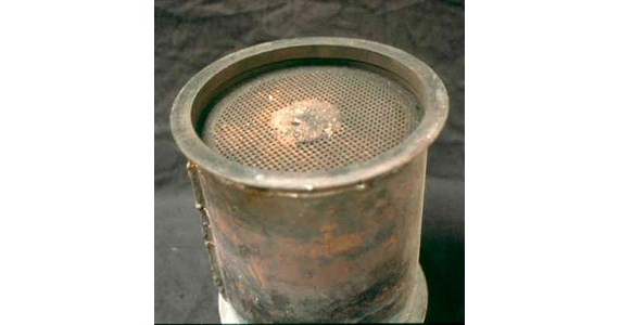 Corning DPF core melted 1986.jpg